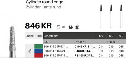 Zylinder Kante rund 846KR, Diamant FG