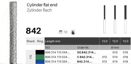 Zylinder flach 842, Diamant FG