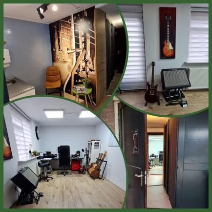 gitaarles studio, ingang gitaarles studio, wachtruimte
