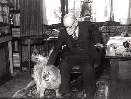 Sigmund Freud mit Hündin Jofi