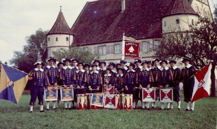 Fanfarenzug in historischer Landknechtuniform (1968)