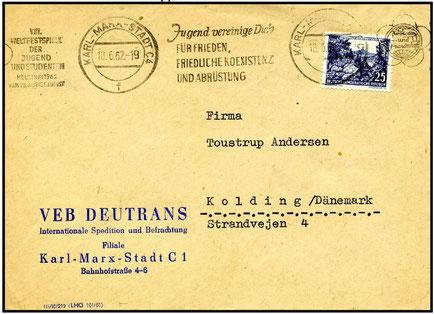 Auslandsbedarfsbrief aus 1962 nach Dänemark