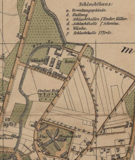 Stadtplan 1892 mit Schlachthaus - Ausschnitt