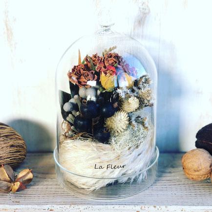 10月 長野 飯田1dayレッスン『秋色のフラワーテラリウム』作り