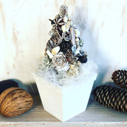 11月 長野 飯田1dayレッスン『ホワイトクリスマスツリー』作り