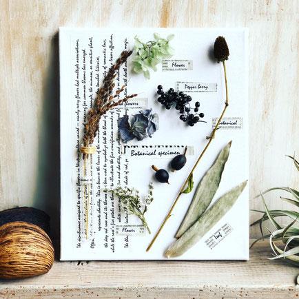 2018年10月 東京 表参道1dayレッスン『植物標本〈キャンバス〉』作り