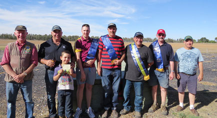 L - R.  Brian Reid,  Mark McDonald & son Lachlan,  Andrew Menegazzo,  Phil. Smith,  Fab. Francione,  Peter Finn,  David Jackel.