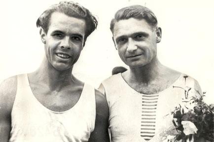 Hans-Jürgen Dressler links mit Alfred Großkopf DDR-Meister 1950 (Foto privat)