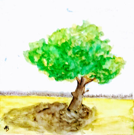 Lonely tree in spring,Aquarellbild, Landschaftsbild, Feld, Wiese, Baum, Wald, Bäume, Himmel, Aquarellmalerei, Fine Art Painting