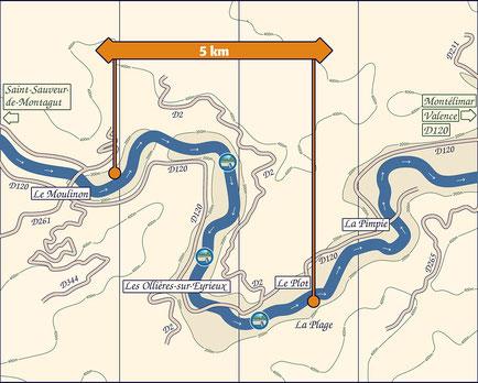 Descente de L'Eyrieux au départ des Ollières sur Erieux (en Ardèche). Carte de la descente en canoë kayak, du Moulinon aux Ollières sur Eyrieux.