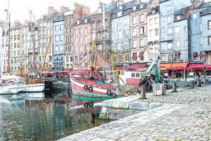 """Alter Hafen von Honfleur. Im Hintergrund liegt ein Restaurant neben dem anderen über die gesamte Hafenlänge, so zu sagen eine """"Freßgass"""""""