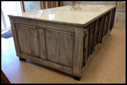 antiqued washed oak display cabinet