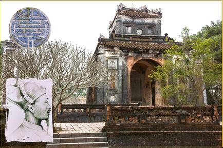 Der Stelenpavillon innerhalb der Lang Tu Duc Grabanlage bei Hue.