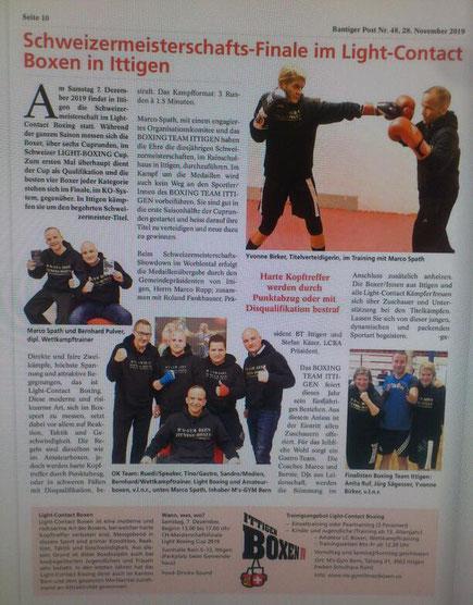 Marco Spath und Bernie Pulfer mit Team Vorbericht Zeitung Bantiger Post, Ausgabe November 2019 BOXING TEAM ITTIGEN @ M's-GYM BERN