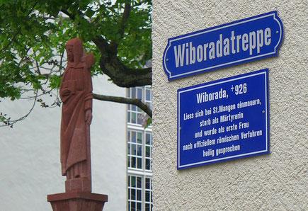 Statue und Gedenktafel an Wiborada vor der Kirche St. Mangen in St. Gallen