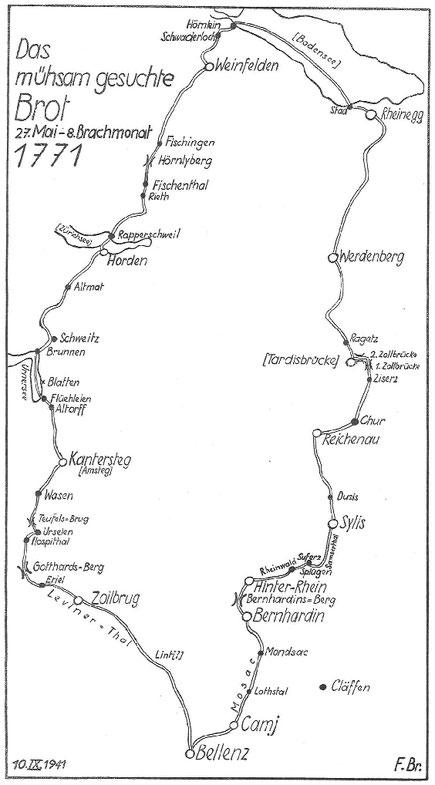 die Reiseroute 1771