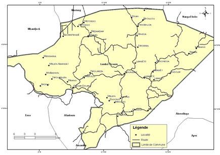 Carte de la Commune de Lembe-Yezoum