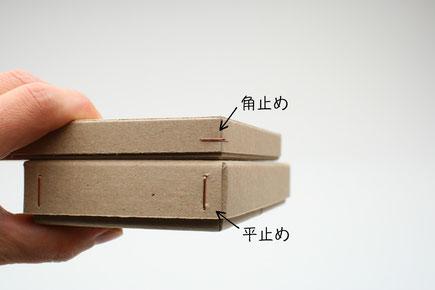 ギフトボックス(機械箱)の角の留め方2種類