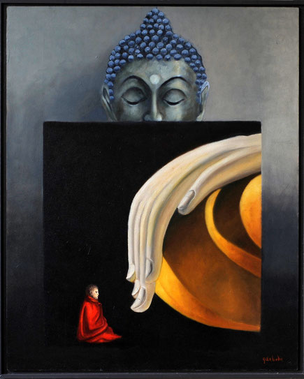 Bouddha teaching    oil on panel 80cmx80cm  ingekaderd  Prijs; 650 euro inc btw