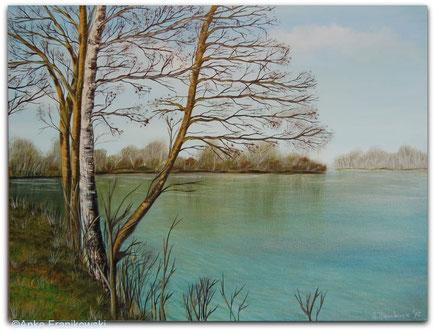 Ein Landschaftsgemälde mit einer Birke an einem hellblauem See, in Acryl gemalt.