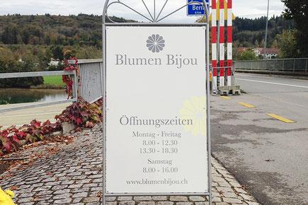 Kundenstopper von dickesdesign für Blumen Bijou Hinterkappelen