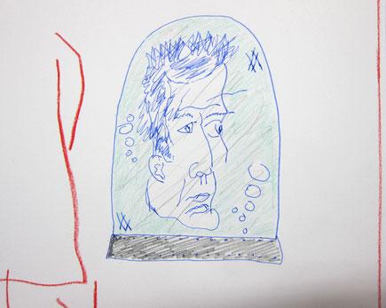November 2015 Sebastian »Schneekugel« Tinte und Kreide auf Papier 8,5 x 11,5 cm