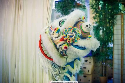Löwentanz Vorführung in der Jing Wu Schule Köln