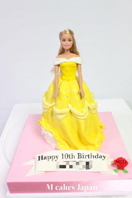 #美女と野獣 #ベル #ドレス #バラ #お誕生日ケーキ #beautyandthebeast #dresscake #cake #barbiecake #japanbased #🇯🇵