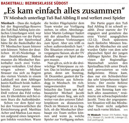Bericht im Miesbacher Merkur am 15.12.2016 - Zum Vergrößern klicken