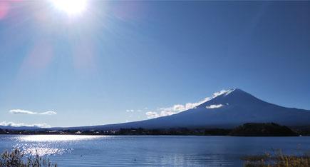 現場近くの湖畔から臨む富士山