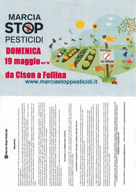 Volantino Marcia Stop Pesticidi di sintesi Cison-Follina (TV) domenica 19.5.2019