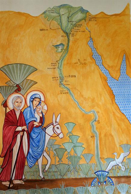 Die Heilige Familie in Ägypten. Joseph, Maria und Jesus und ihre Reiseroute entlang den Kultstätten des Nils. Malerei: Daniela Rutica. Foto: J. Peppler