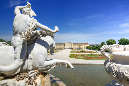 Neptune fountain and the magnificent Schloss Schonbrunn Palace in Vienna, Austria Copyright auphoto