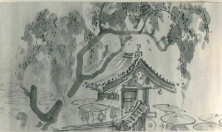 大正二年、崇覚寺で宗祖親鸞聖人650回忌が 勤められた時の風景を高橋清泉画伯が描いたもの。