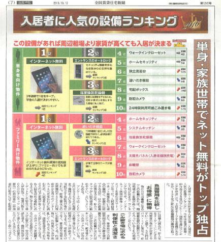 入居者に人気の設備ランキングが全国賃貸住宅新聞第1245号に掲載