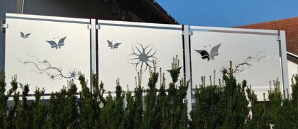 Sichtschutz Garten Glasdekor