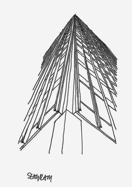 Seagram Building sketched by Heidi Mergl Architect