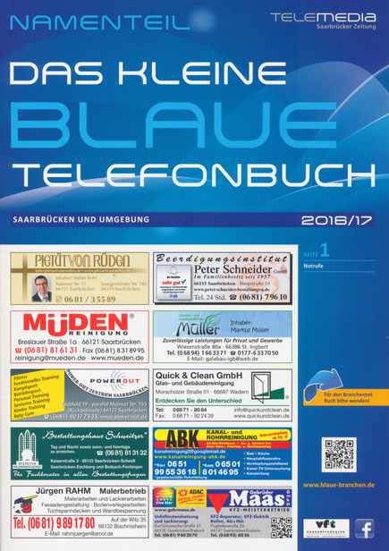 Telefonbuchwerbung Das kleine Blaue 2016/2017 Titelseite
