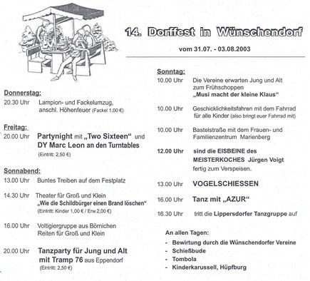 Bild: Wünschendorf Erzgebirge Dorffest  2003