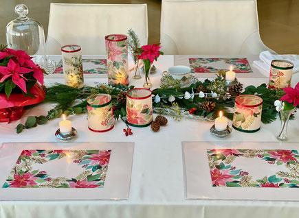 Poinsettia Tischset, Poinsettia Windlicht, Weihnachtsdekoration, Tischdekoration