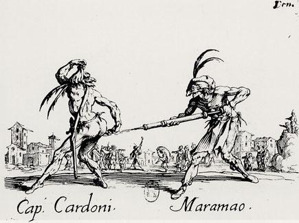 Callot: Balli di Sfessania. Capitano Cardoni und Maramao