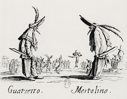 Callot: Balli di Sfessania. Guatsetto und Mestolino