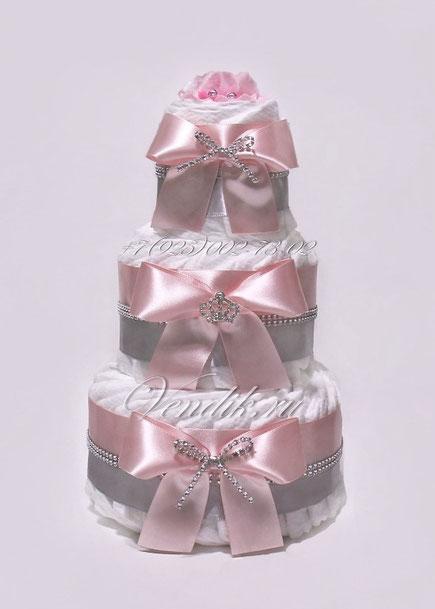 """Торт из памперсов - подарок для новорожденной  девочки """"Принцессе"""""""