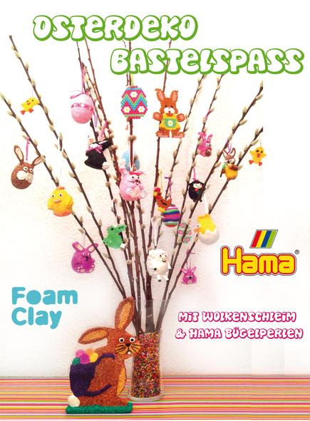 Spielwaren-Kroell, Osterstrauch, Osterdeko basteln, Wolkenschleim, Hama, Foam Clay