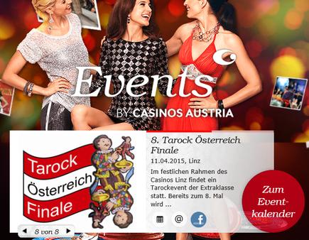 Ö-Finale-Ankündigung im Eventkalender des Casinos Linz