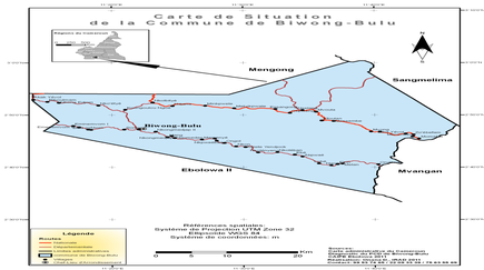 Carte spatiale de Biwong-Bulu