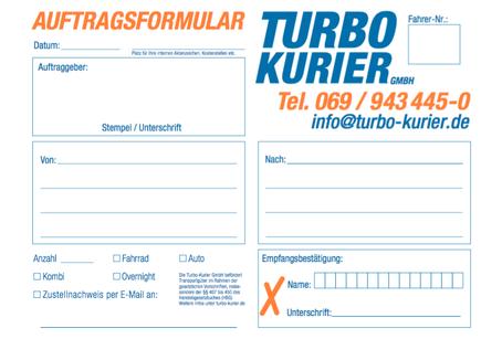 Auftragsformular Turbo-Kurierdienst