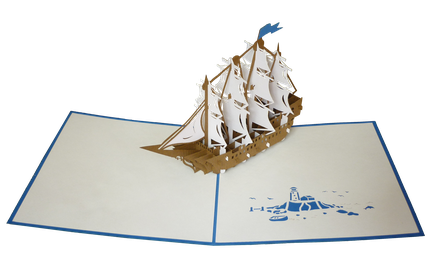 Carte Pop-Up Bateau bleu