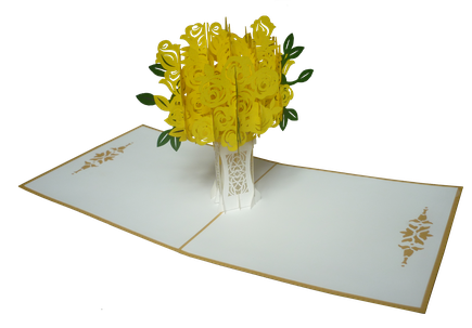 Carte Pop-Up Bouquet de roses jaunes