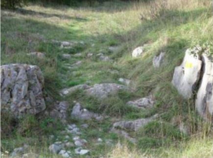 Fig .1 Trace de la voie dans la montée au col Saint Louis